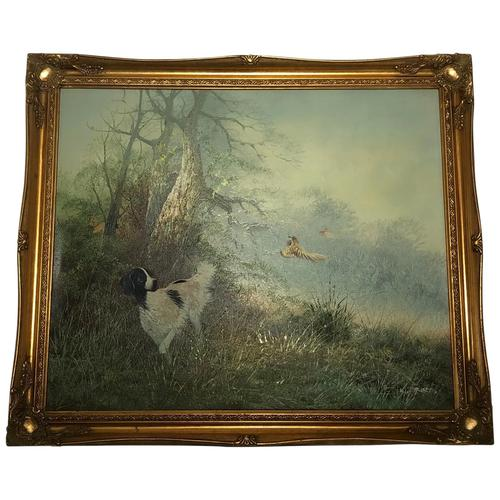 """20th Century Oil Painting """"Hunting Setter Dog & Pheasants in Flight"""" Signed Leiford (1 of 17)"""