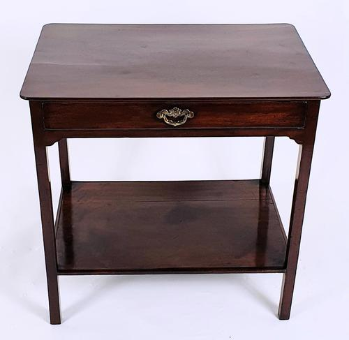 18th Century Mahogany 2 Tier Table with Single Drawer (1 of 8)