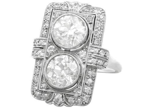 4.84ct Diamond & Platinum Dress Ring - Art Deco - Antique French c.1920 (1 of 9)