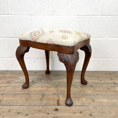 Late Victorian Carved Mahogany Stool (1 of 8)