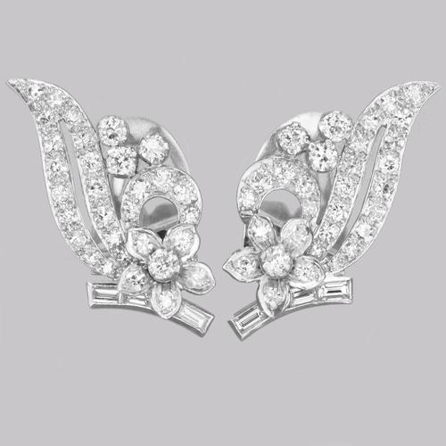 Art Deco Platinum Diamond Earrings 1930s Floral Scroll Clip On Antique Earrings (1 of 10)