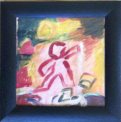 Original Gouache Painting 'the Entertainer' by Doreen Heaton Potworowski -Initialled c.1970 Framed (1 of 2)