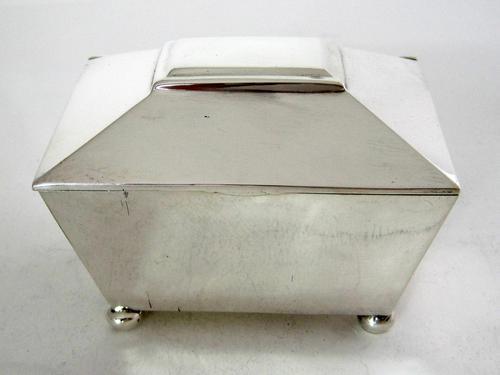 Georgian Style Sarcophagus Shaped Silver Tea Caddy (1 of 5)