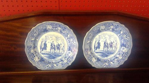 Pair of Antique Staffordshire Plates,History Series by Jones & Sons (1 of 6)