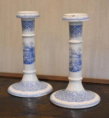 Unusual Pair of Blue & White Candlesticks (1 of 7)