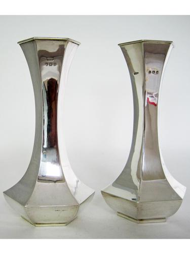 Pair of Antique Hexagonal Silver Vases (1 of 5)