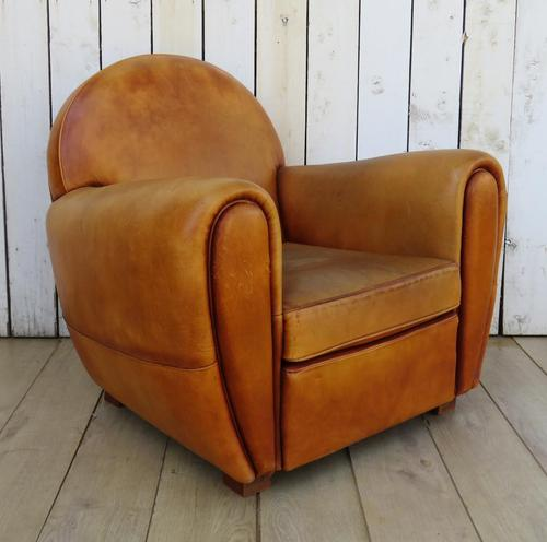 Large French Leather Club Chair (1 of 10)