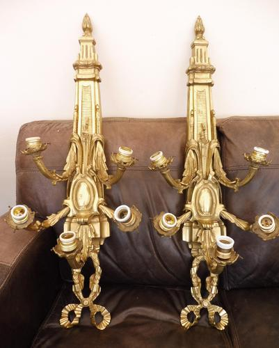 Pair of 5 branch wall lights height 3ft 3 inch brass (free shipping to mainland england) (1 of 11)