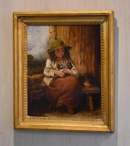Victorian Oil Painting of a Girl with Kitten (1 of 6)