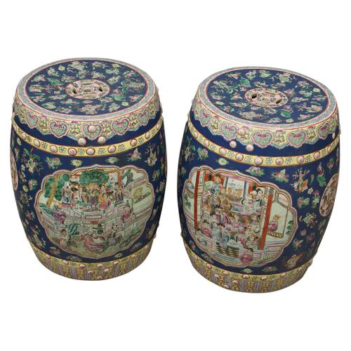 Pair of Chinese Qing Dynasty Painted Barrels / Seats (1 of 17)