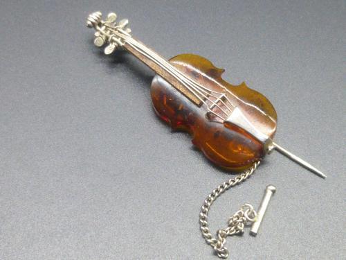 Silver & Amber Violin Brooch / Lapel Pin (1 of 6)