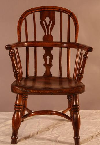 Rare Childs Yew Wood Windsor Stamped Fred Walker (1 of 10)
