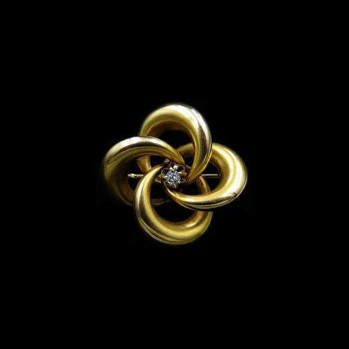 Antique Diamond Lovers Knot 15ct Gold Brooch Pin (1 of 8)
