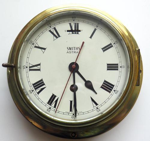 Superb Antique English Smiths Bulkhead Wall Clock 8 Day Ships Clock (1 of 11)