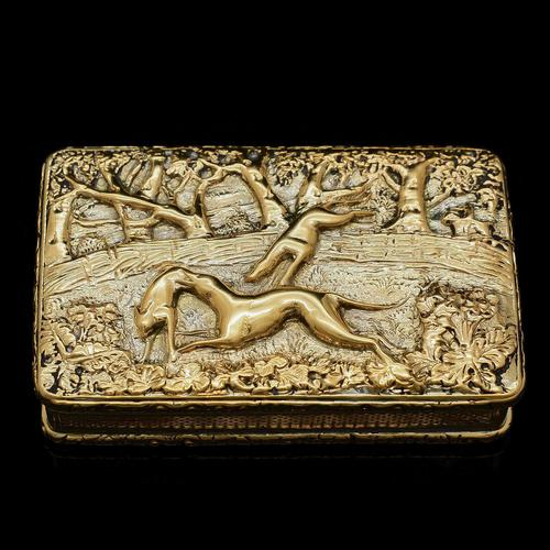 Georgian Solid Silver Gilt Snuff Box With Spectacular Fox Hunting Scene - Edward Smith 1832 (1 of 22)