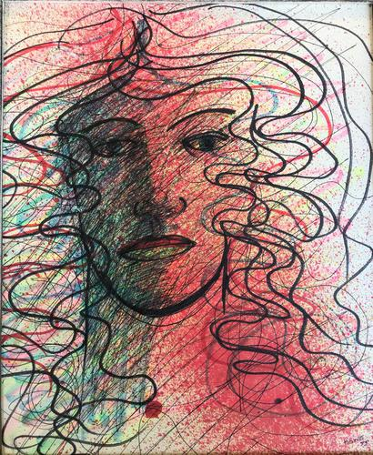 Original Pen & Ink Painting 'Man with Flowing Hair' by Terence Howe - Signed & Dated 75 (1 of 1)