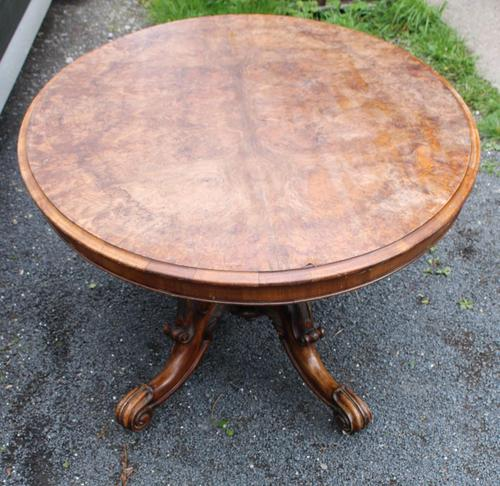 1880's Burr Walnut Loo Table Top with Ornate Base (1 of 5)