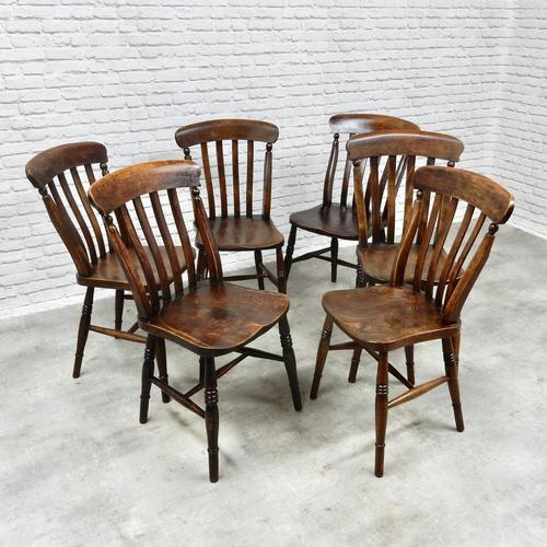 Matched Set of 6 Windsor Kitchen Chairs c.1890 (1 of 7)