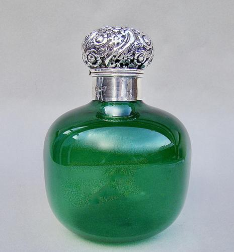 Very Large Victorian Silver Mounted Bristol Green Glass scent bottle by Cooper & Co, Birmingham 1899 (1 of 6)