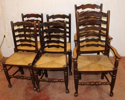 1940s Set 6 Oak Ladderback Dining Chairs Rush Seats. 4+2 (1 of 3)