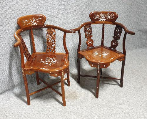 Excellent Pair of Oriental Corner Chairs (1 of 9)