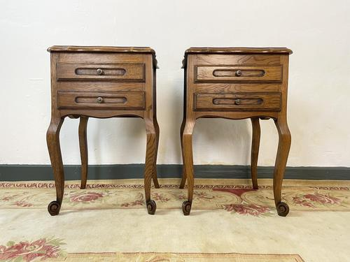 Vintage French Pair of Louis Style Bedsides Tables Oak Cabinets (1 of 12)