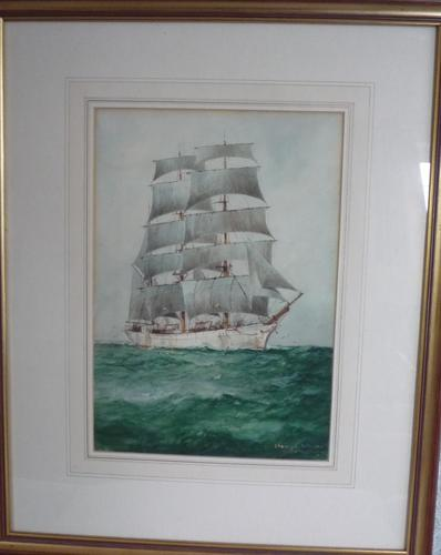 Watercolour by W.M.Birchall 1884 - 1941 'A Norwegian Timber Ship' (1 of 1)