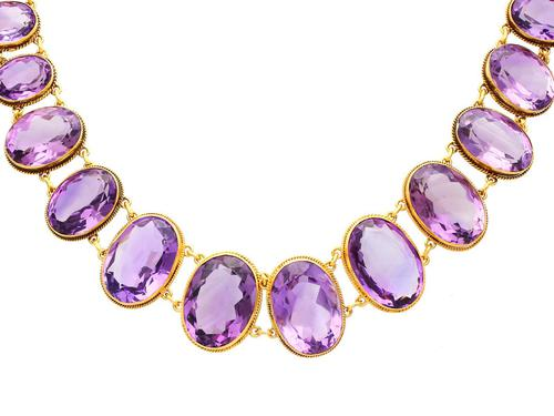 274.91ct Amethyst & 18ct Yellow Gold Rivière Necklace - Antique Victorian (1 of 12)