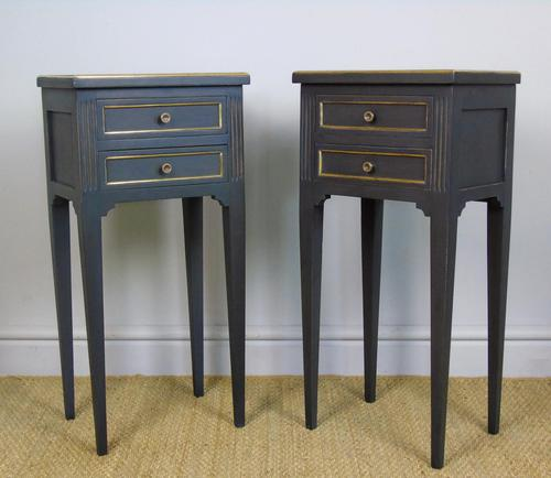 Antique Pair of Painted Bedside Cabinets Brass Mounts (1 of 8)