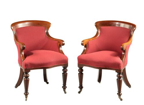 Pair of Early Victorian Period Mahogany Framed Chairs (1 of 5)