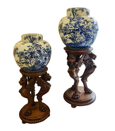 Extremely Rare Pair of Meiji Period Japanese Blue & White Ginger Jars (1 of 12)