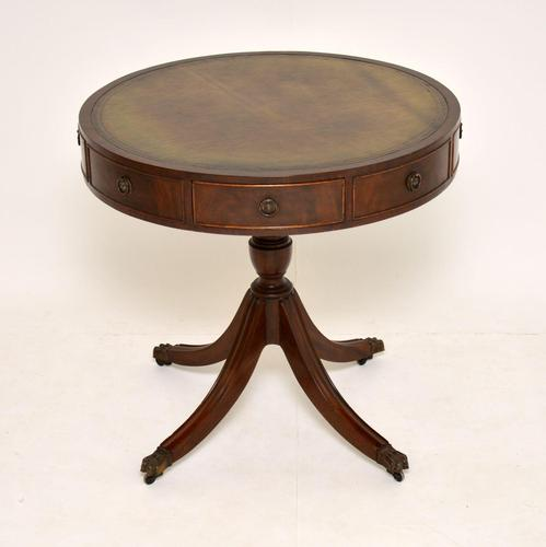 Antique Regency Style Mahogany Leather Top Drum Table (1 of 5)