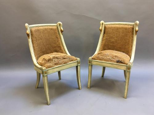 Pair of Empire French Painted Chairs (1 of 10)