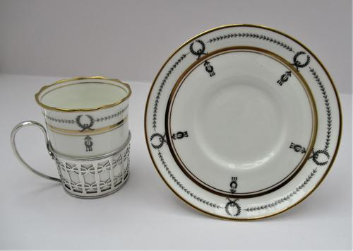 Aynsley Bone China Coffee Cup & Saucer, Silver Mount, Manoah Rhodes & Sons Ltd London 1933 (1 of 7)