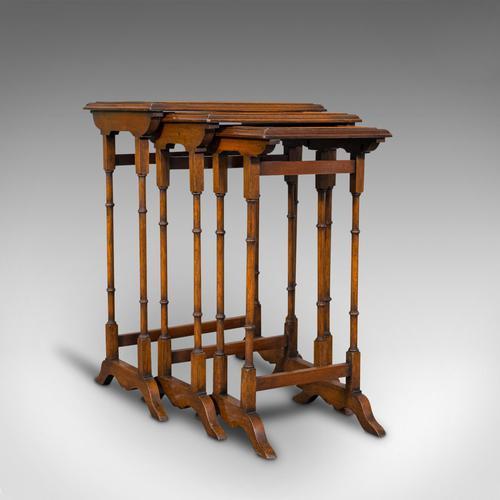 Antique Trio of Nest Tables, English, Walnut, Mahogany, Nesting, Side, Edwardian (1 of 12)