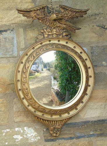 Regency Style Circular Convex Mirror Eagle Crest (1 of 6)