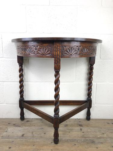 Antique Carved Oak Demi Lune Hall Table (1 of 10)