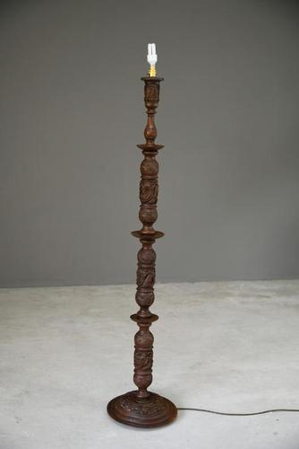 Oriental Chinese Carved Standard Lamp (1 of 10)