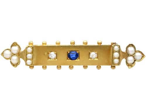 0.18ct Sapphire, Diamond & Pearl, 18ct Yellow Gold Bar Brooch - Antique Victorian c.1890 (1 of 9)