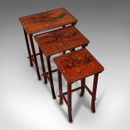 Antique Nest of 3 Occasional Side Tables, Oriental, Japanned, Victorian c.1900 (1 of 12)