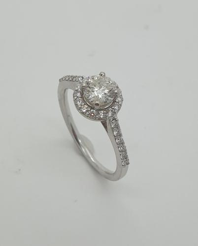 18ct WG Diamond Solitaire Halo Ring (1 of 8)