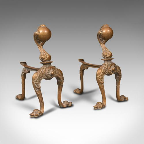 Pair  of Antique Decorative Fireside Tool Rests, French, Brass, Andiron, Victorian (1 of 12)