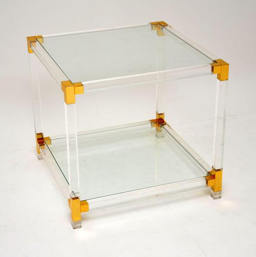 1970's Vintage Glass & Acrylic Coffee / Side Table (1 of 6)