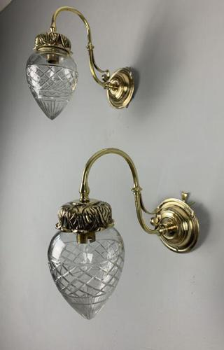 Pair of Edwardian Cut Glass Brass Wall Lights, Rewired (1 of 11)