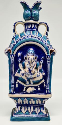 Vintage Bombay Porcelain Vase Featuring Hindu God Ganesh Standing on a Mouse (1 of 8)
