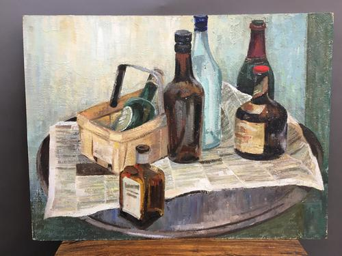oil on board -  still life with bottles (1 of 4)