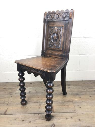19th Century Carved Oak Hall Chair (1 of 9)