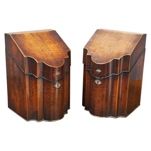 Pair of George III Inlaid Mahogany Cutlery Boxes (1 of 9)