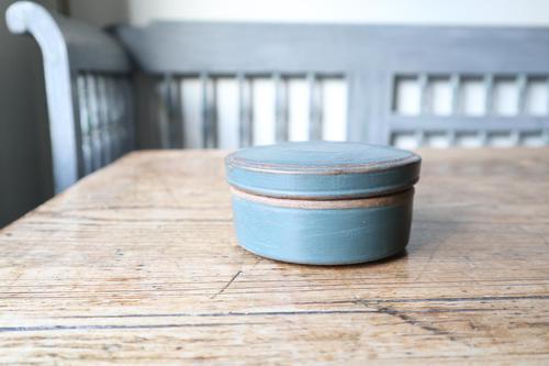 Swedish 'Folk Art' original blue painted wooden storage box / jar 19th Century (1 of 15)