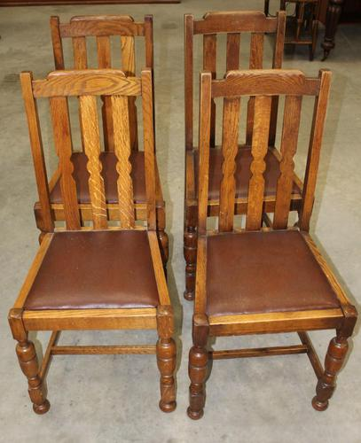 1930's Set of 4 Oak Dining Chairs with Brown Leather Pop out Seats (1 of 2)